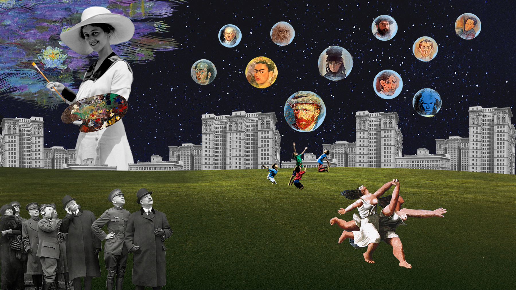 Imagen surrealista con foto blanco y negro de mujer gigante, con edificios abajo, niños saltando en hierba, grupo de gente mirando en blanco y negro, mujeres corriendo de picasso, burbujas cayendo del cielo nocturno de pintores y pintoras. Loco Mundo Arte y Bohemia