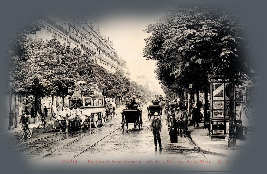 Foto blanco y negro con caballos del Boulevard Saint-Germain. París, Belle Époque