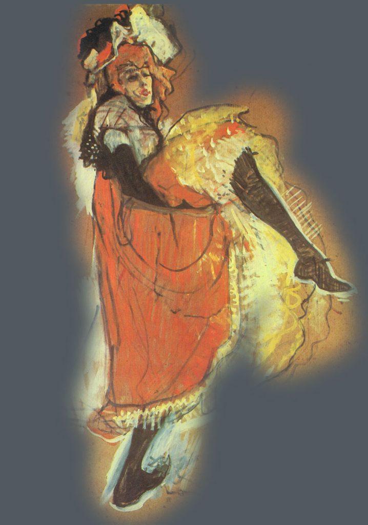 Toulouse Lautrec-Bailarina Cancán. Postimpresionismo