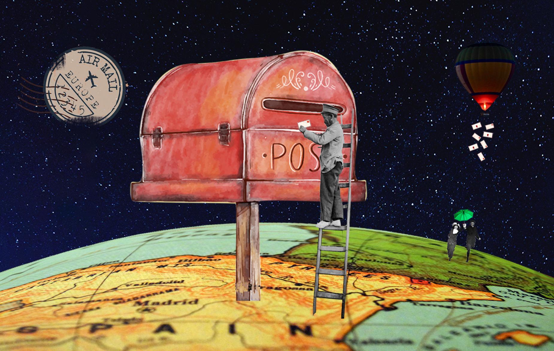 Buzón vintage gigante con hombre escalera, mapa y globo aerostático. Surrealismo. Loco Mundo Arte y Bohemia