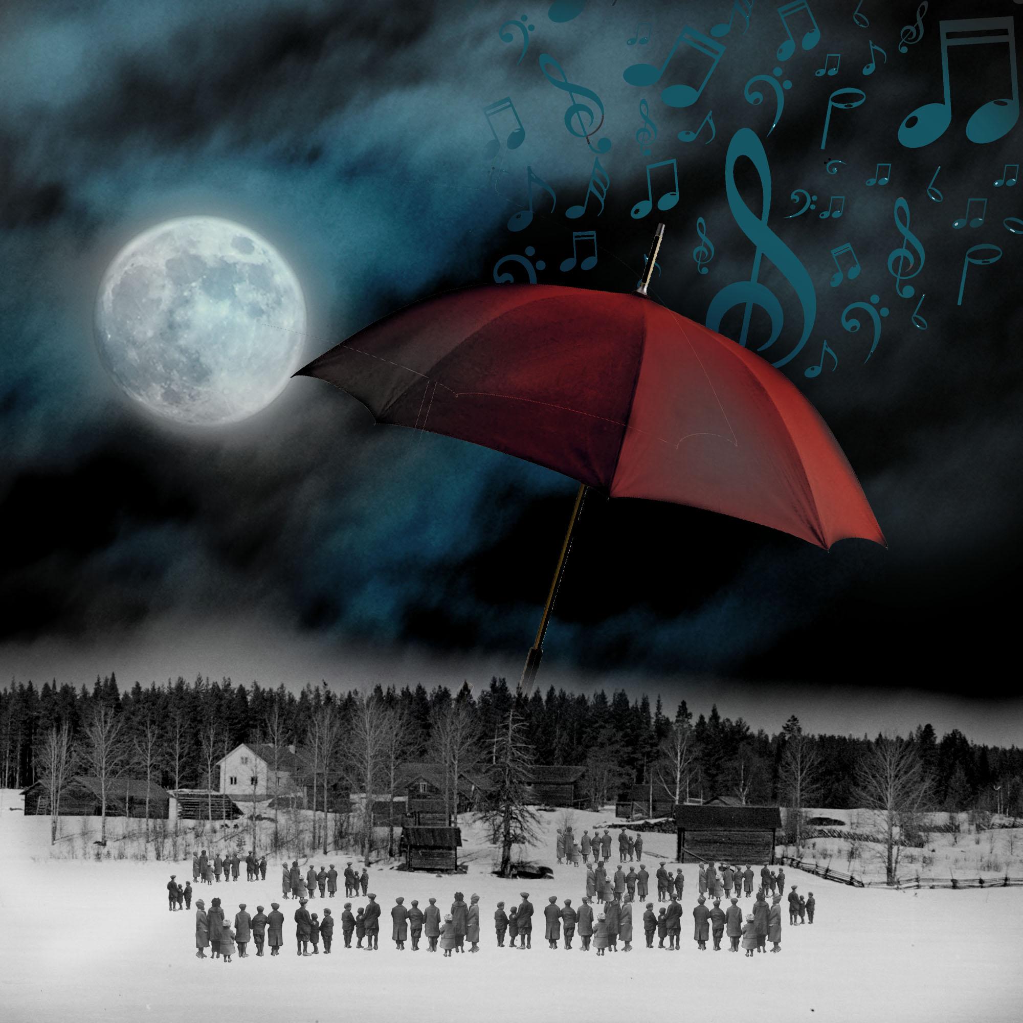 El influjo de la Luna IV: Capricho nocturno. Un paisaje nocturno con luna, y notas musicales caen del cielo con un gran paraguas y gente mirando. Loco Mundo Arte y Bohemia