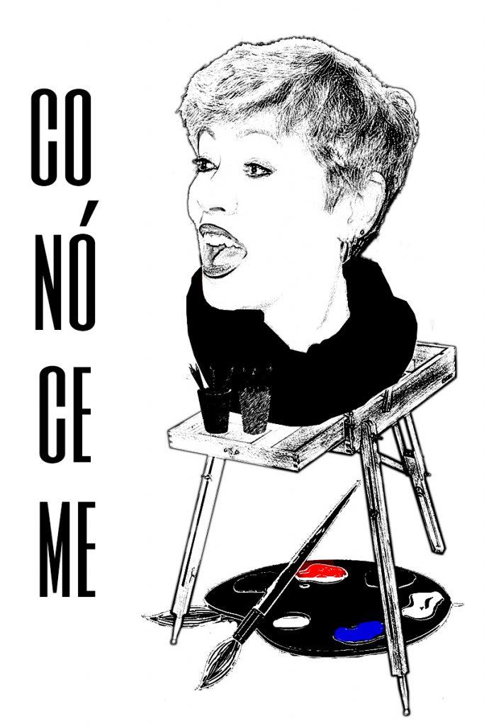 Dibujo en Blanco y negro de Toñi Arenas sobre un caballete con espátula y el título Conóceme - Loco Mundo Arte y Bohemia