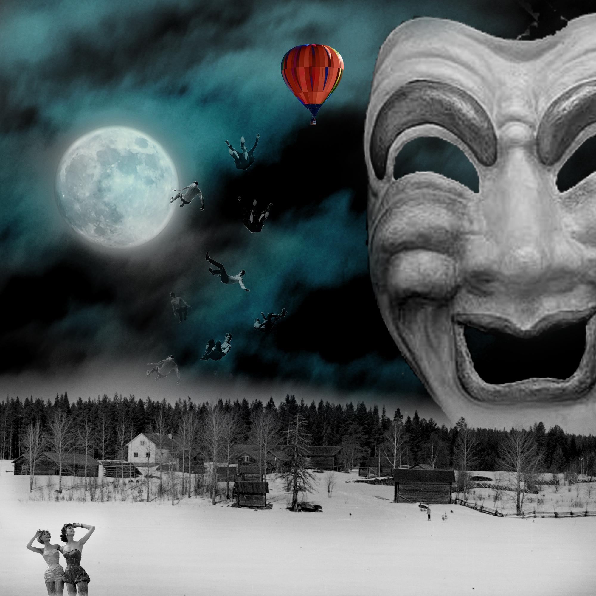 El influjo de la Luna III: Burlesque. Paisaje nocturno con luna, una gran máscara y hombres cayendo de un globo. Loco Mundo Arte y Bohemia