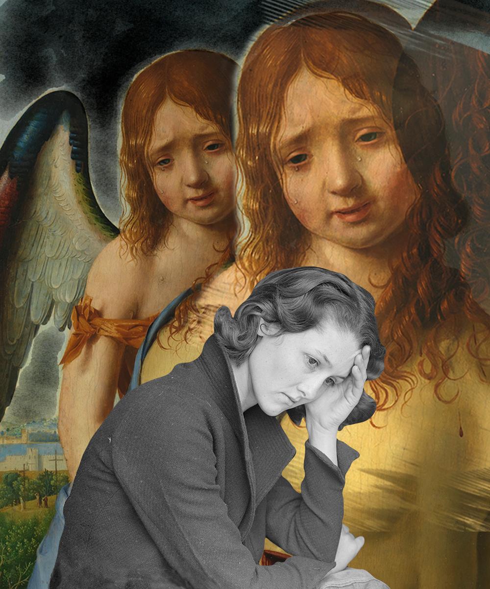 Ángel llorando del cuadro Cristo muerto sostenido por un ángel de Antonello de Messina - Museo del Prado, y una mujer en balnco y negro pensativa y triste. Surrealismo. Loco Mundo Arte y Bohemia
