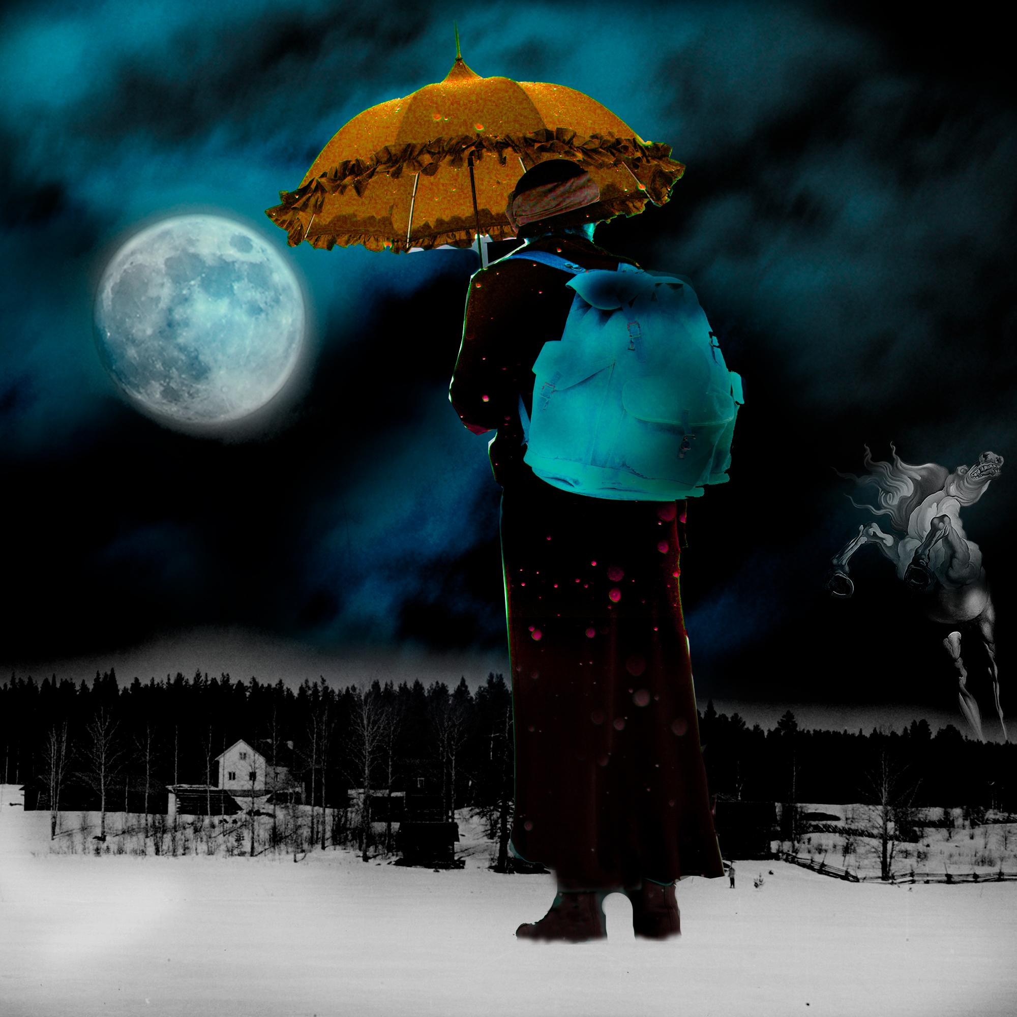 El influjo de la Luna II: Espejismo - Collage con paisaje nocturno con luna, una mujer y el caballo de Dalí. Loco Mundo Arte y Bohemia