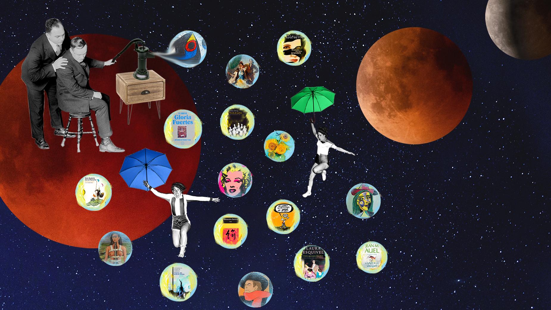 Dos hombres en blanco y negro lanzan burbujas de pinturas y novelas, desde planetas y con dos chicas volando en paraguas. Loco Mundo Arte y Bohemia