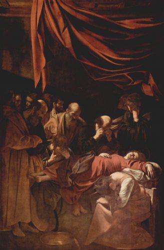 Pintura de Caravaggio, La Muerte de la Virgen. Barroco