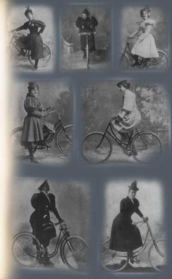 Montaje fotográfico de varias mujeres en bicicleta en el siglo XIX