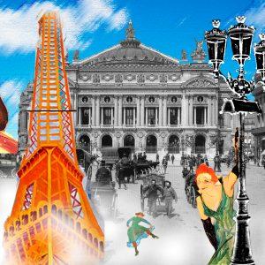Collage Opera Garnier y calle con caballos en blanco y negro , con Mouline rouge, modelos de Toulouse Lautrec, bañista de Picasso y Torre Eiffel de Delaunay - la Belle Epoque - Surrealismo. Loco Mundo Arte y Bohemia