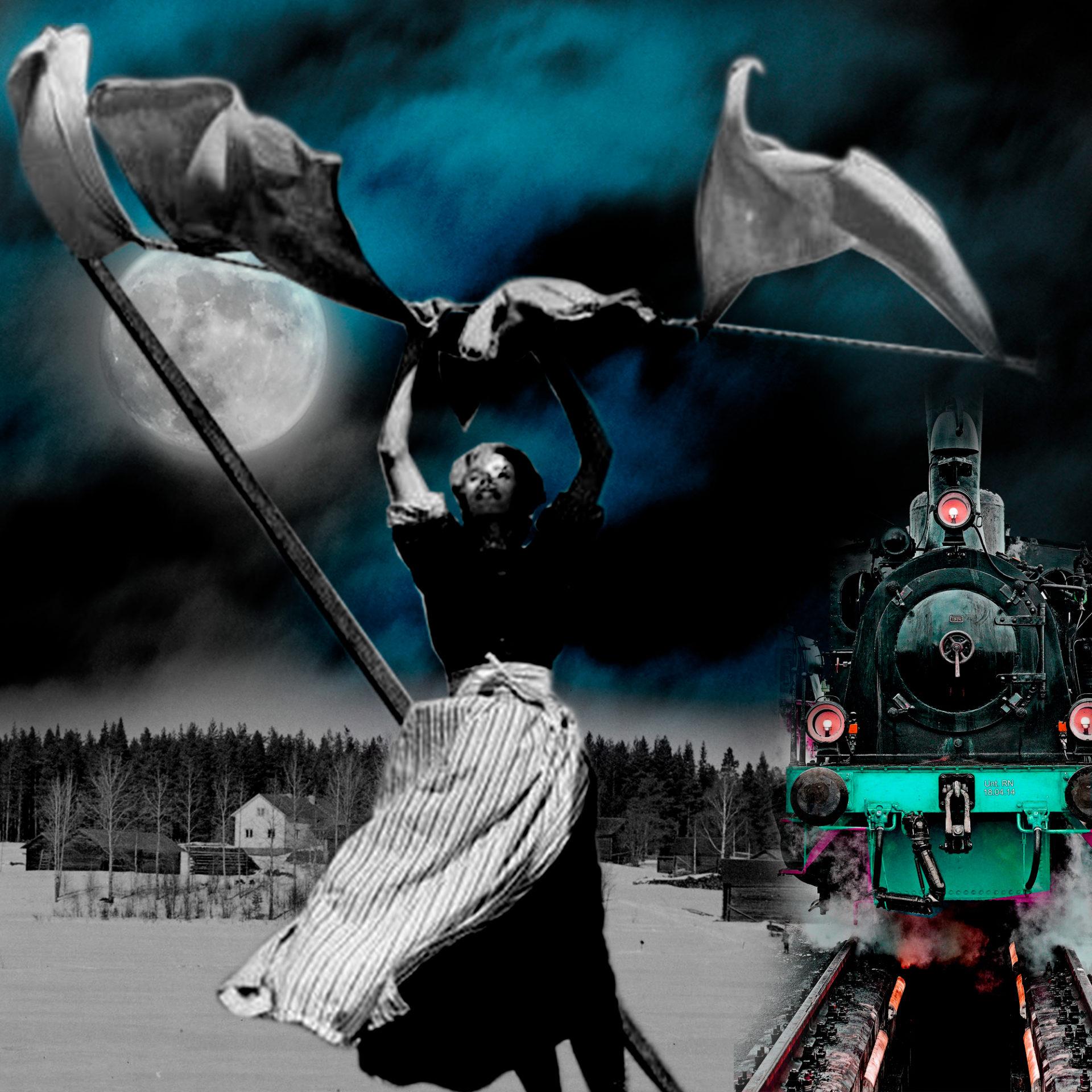 El influjo de la Luna I- Soñando- Collage con paisaje nocturno con luna, una mujer y un tren. Loco Mundo Arte y Bohemia