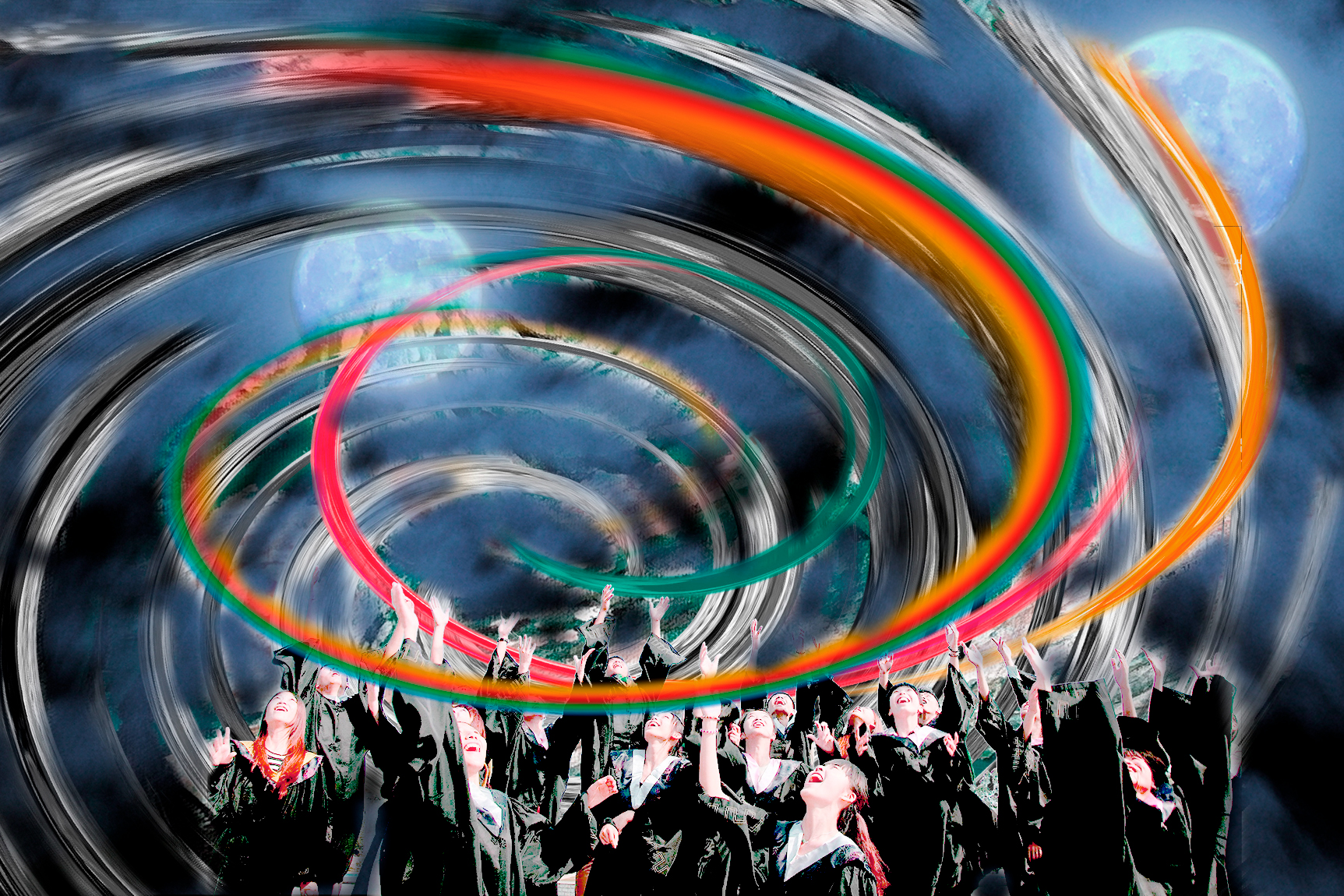 Chicos celebrando con brazos en alto y un torbellino de arco iris a su alrededor. Loco Mundo Arte y Bohemia