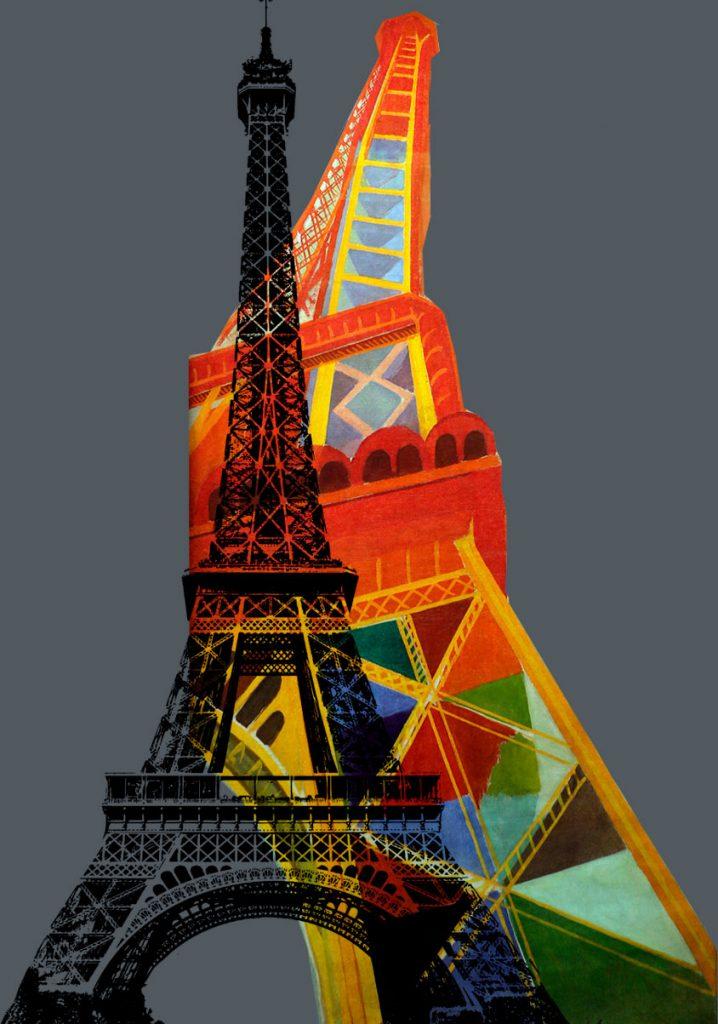 Torre Eiffel doble: en blanco y negro y pintada en colores. Gustave Eiffel