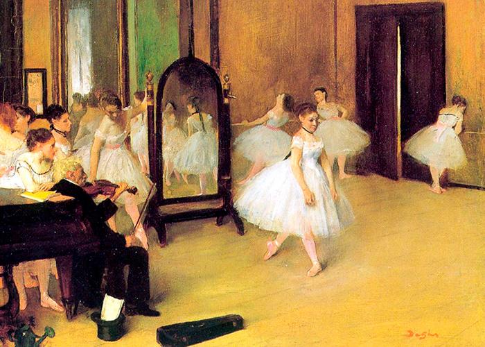 Impresionismo-Edgar Degas-Clase de danza con espejo y músico con violín