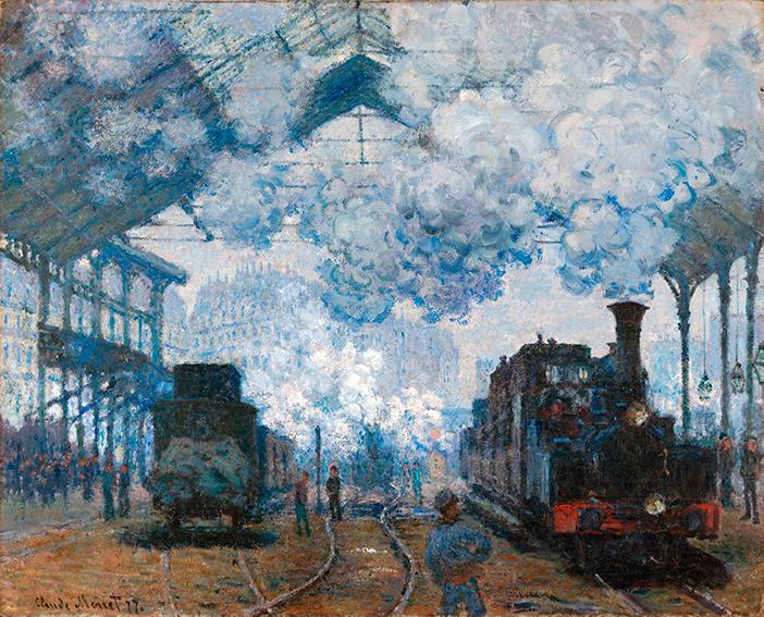 Impresionismo-Claude Monet- Llegada a la estación de San Lázaro de dos trenes