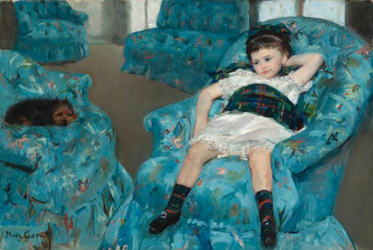 Impresionismo. Mary Cassat - Niña y perro en sillón azul