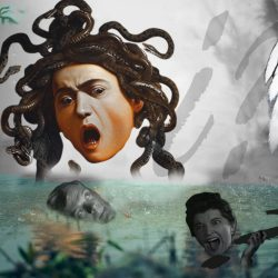 Imagen surrealista.Medusa Caravaggio-lago lluvia-cabezas balnco y negro- alas con cabeza mujer- interrogantes. Loco Mundo Arte y Bohemia