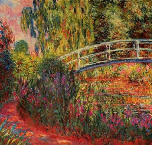 Impresionismo-Claude Monet-Puente con lilas-tonos rojizos