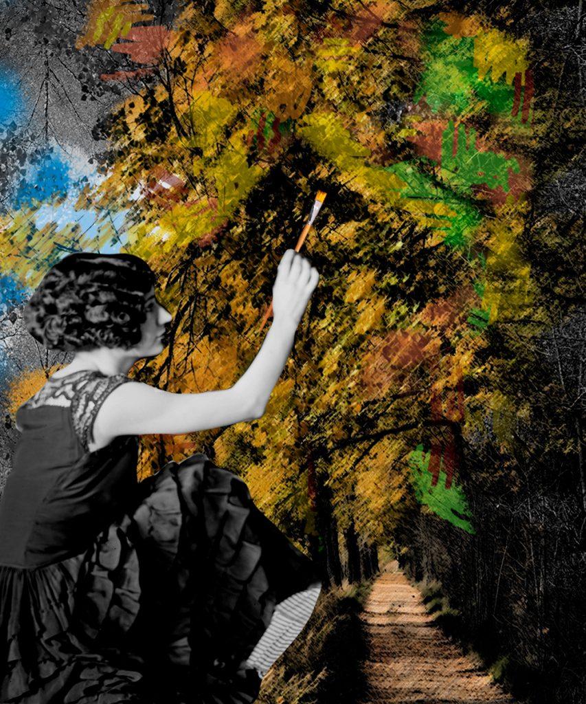 Mujer Blanco y negro pintando el fondo bosque coloreado. Loco Mundo Arte y Bohemia