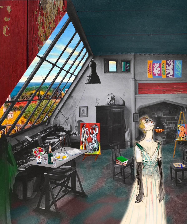 Interior buhardilla blanco y negro con elementos color. Collage con pintura Yvette Guilbert- Toulouse Lautrec, Cuadros Picasso y Magritte. Loco Mundo Arte y Bohemia