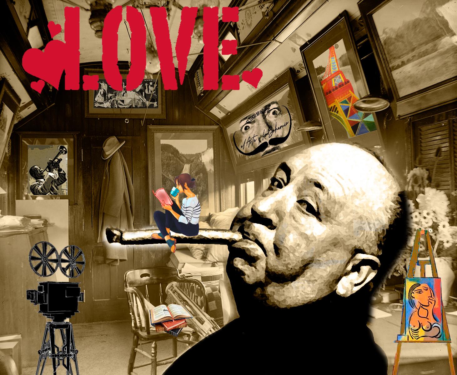 Imagen fondo blanco y negro de interior con Hitchcock, el Guernica, mujer leyendo, Jirafa de Magritte, Torre Eiffel. LocoMundoArteyBohemia