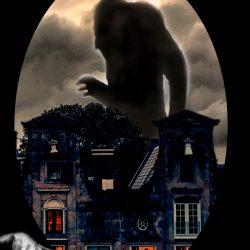 Imagen de una sombra gigante de miedo sobre unas casas de noche con una mano en una esquina. Loco Mundo del Arte y la Bohemia