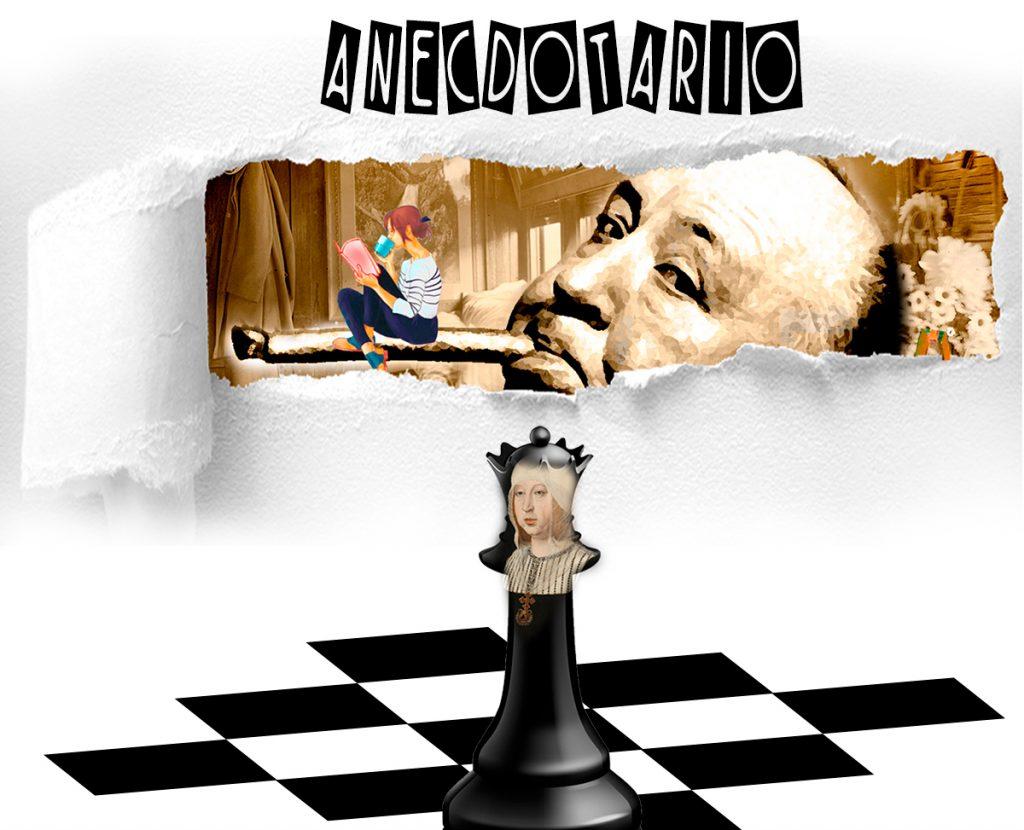 Collage imágenes de Hitchcock, chica leyendo, papel rasgado, con reina Ajedrez Isabel La Católica. Loco Mundo Arte y Bohemia