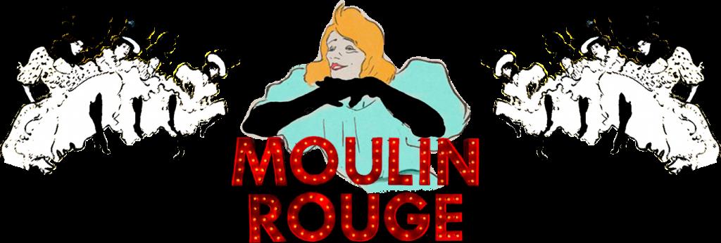 Bailarinas de Cabaret con Yvette Guilbert y cartel Moulin Rouge-París 1900