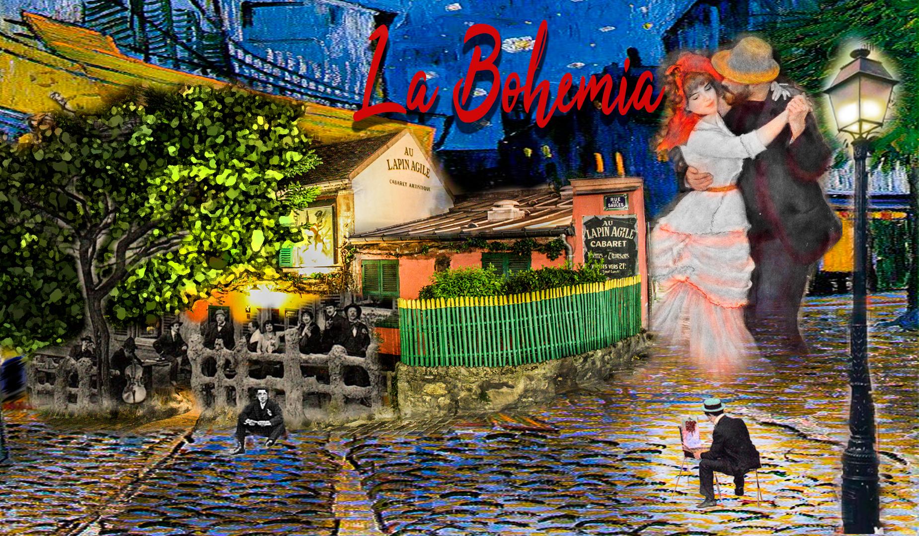 La Bohemia, foto blanco y negro con gente en la terraza del cabaret Lapin Agile, con cielo del cafe la nuit de Van Gogh y Bailarines. Escena de noche.Loco Mundo Arte y Bohemia