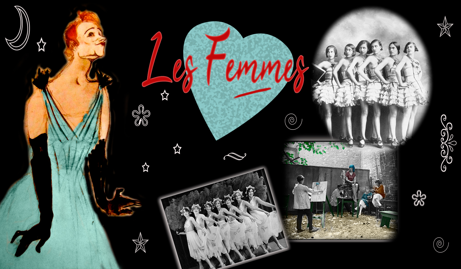 Collage varias fotos de mujeres bailarinas en blanco y negro. La Bohemia y las mujeres, con un dibujo de Ivette Guilbert de Toulousse Lautrec y un corazón en el medio. Loco Mundo del Arte y la Bohemia