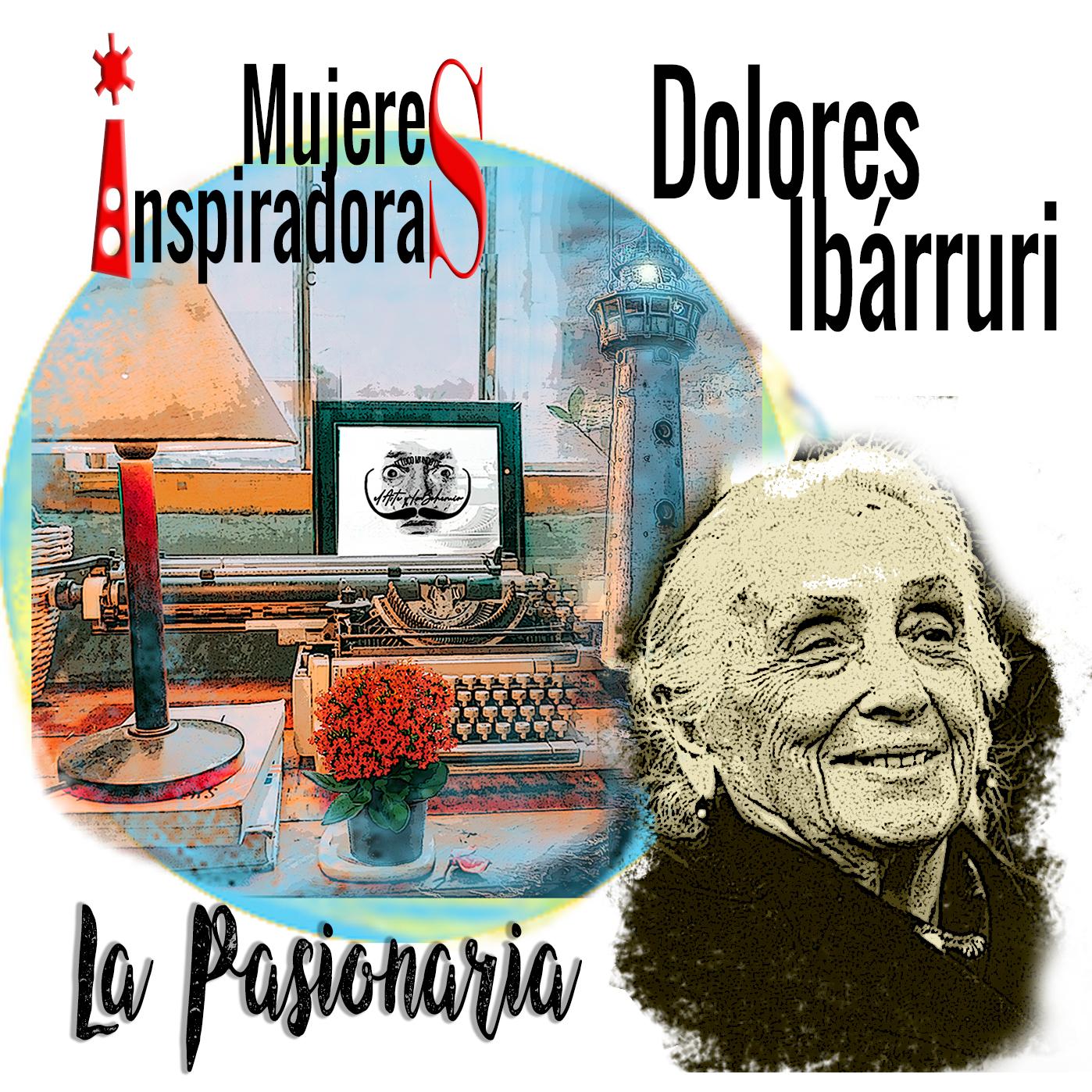 Mujeres Inspiradoras: Dolores Ibárruri, La Pasionaria, con fondo collage con máquina escribir y un faro coloreados. Loco Mundo Arte y Bohemia