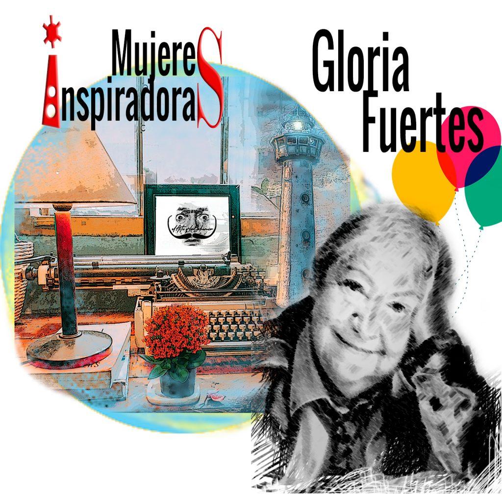 Mujeres Inspiradoras: Gloria Fuertes con fondo collage con máquina escribir y un faro coloreados. Loco Mundo Arte y Bohemia