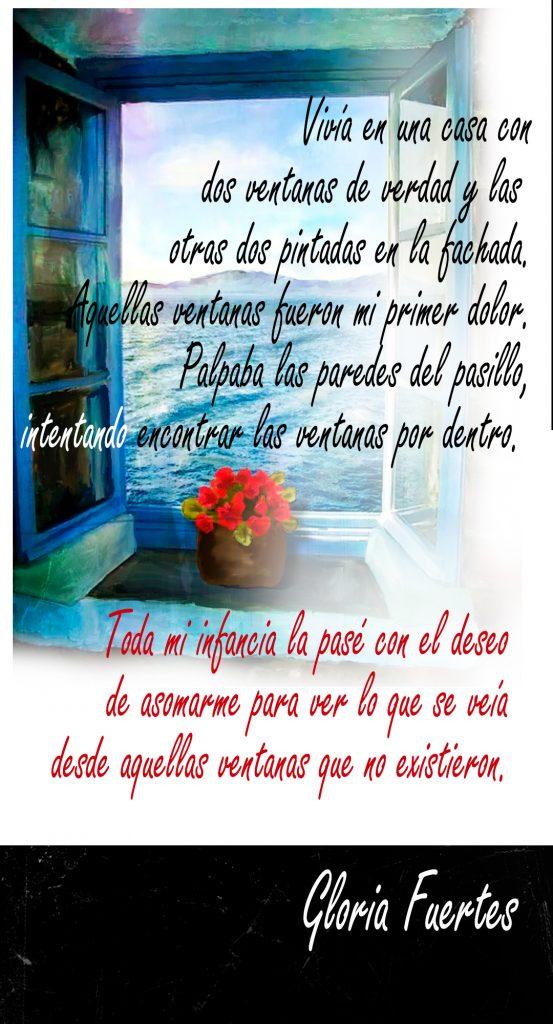 Poema Gloria Fuertes con Ventana de fondo