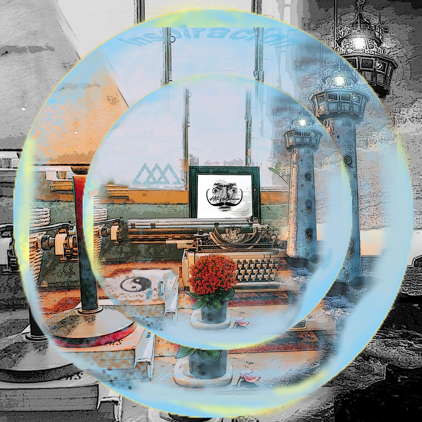 Collage burbuja yin y yan y triángulos pasado, presente, futuro. Loco Mundo Arte y Bohemia
