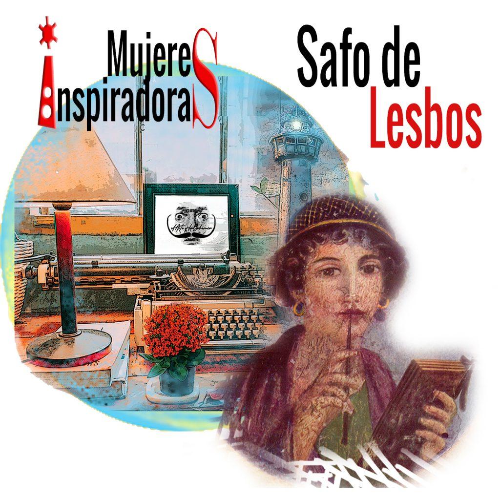 Mujeres inspiradoras Safo de Lesbos poeta, con fondo collage con máquina escribir y un faro coloreados. Loco Mundo Arte y Bohemia