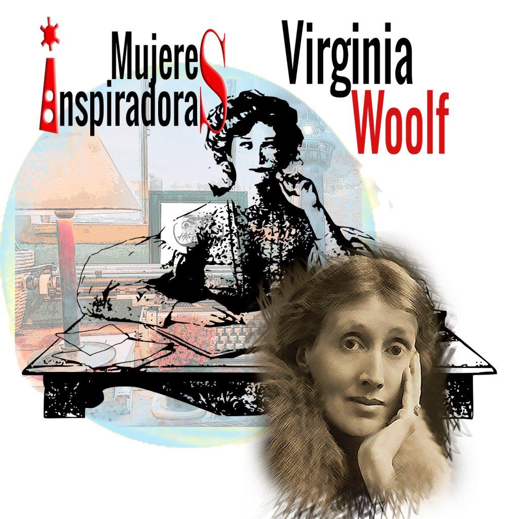 Mujeres inspiradoras: Virginia Woolf con un collage de fondo con un faro y una máquina de escribir. Loco Mundo Arte y Bohemia