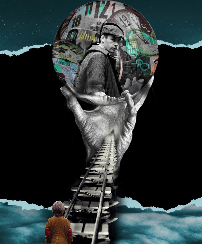 Imagen Surrealista de niño de espaldas sobre vía y mano con bola. Dentro un hombre nos mira. Loco Mundo Arte y Bohemia