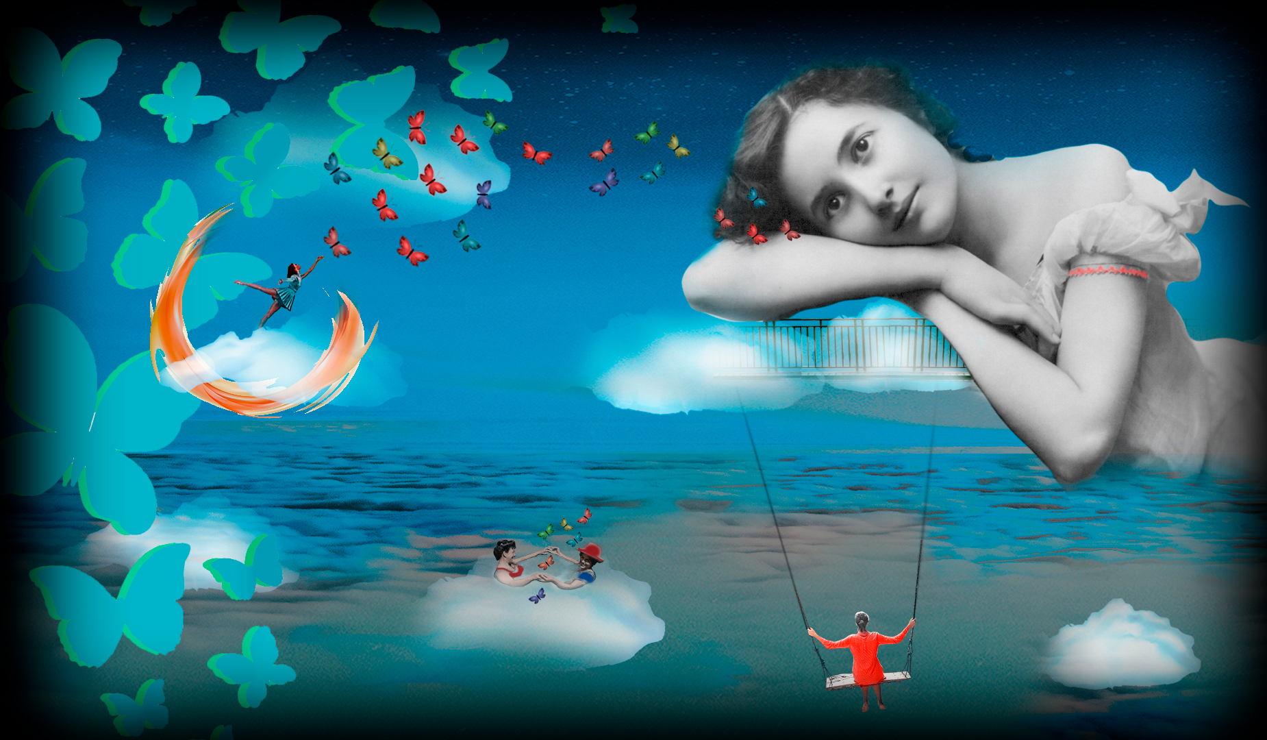 Mujer soñadora sobre nubes y rodeada de mariposas. LocoMundoArteyBohemia