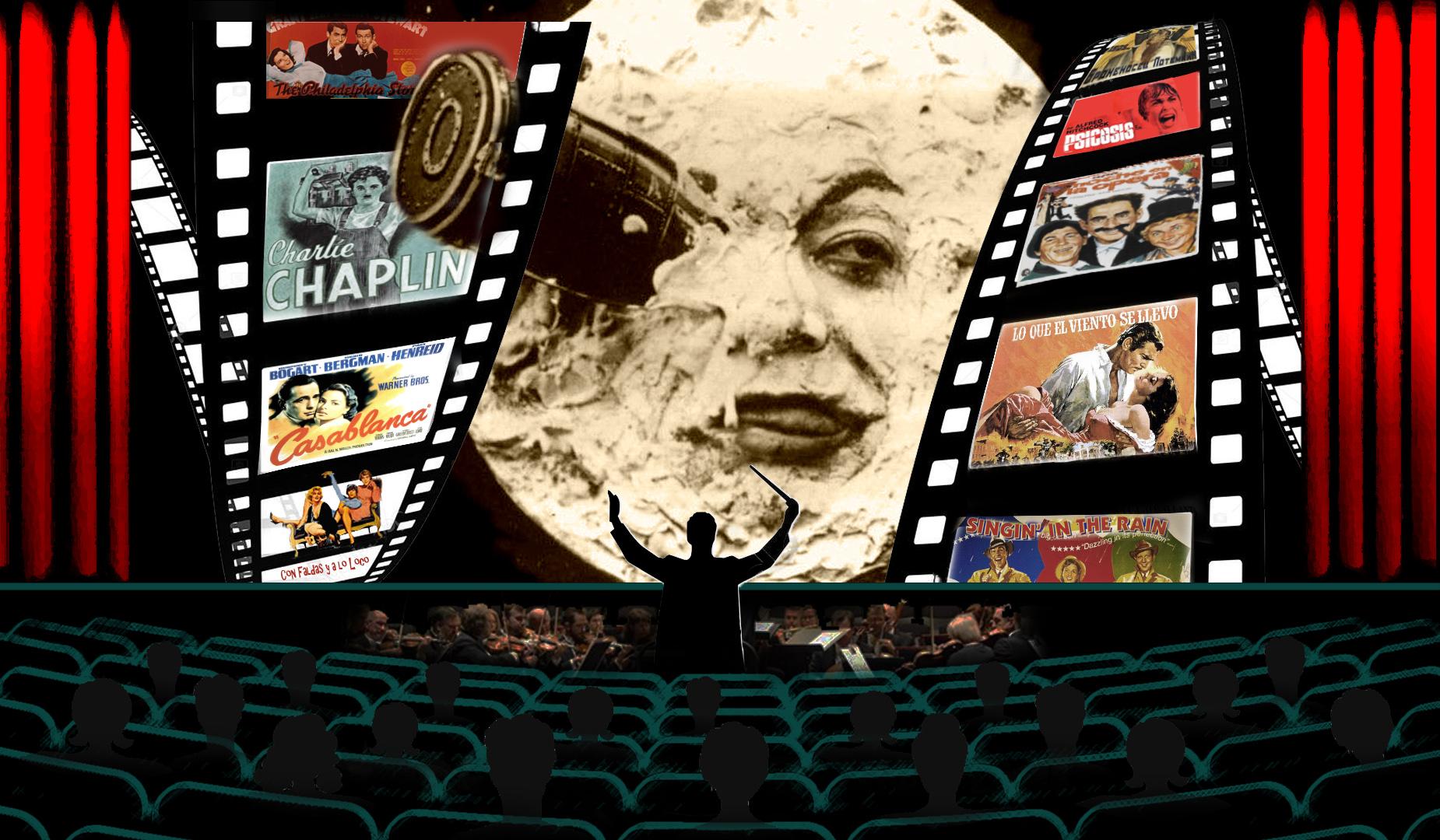 Sala de cine con orquesta y en la pantalla El viaje a la Luna de Méliès y cinta con los carteles de películas antiguas. Loco Mundo Arte y Bohemia