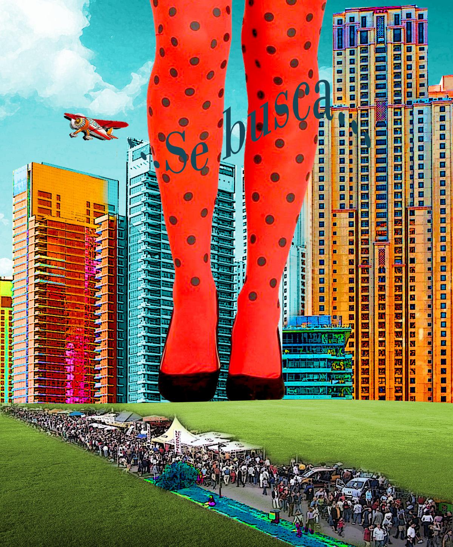 Piernas gigantes de mujer sobre fila de gente acampadas con Edificios coloristas y una avioneta con palabras Se busca. Loco Mundo Arte y Bohemia