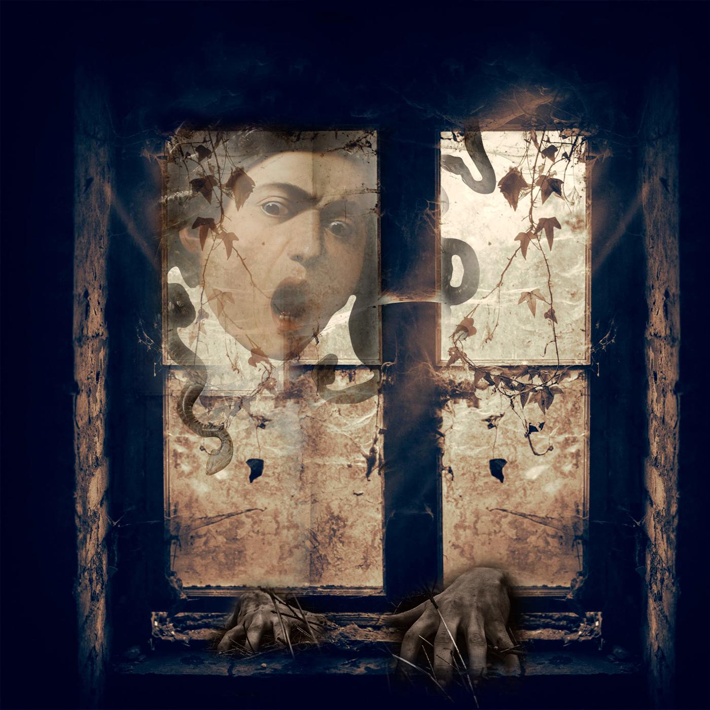 Ventana con la Medusa de Caravaggio asomada y unas manos que arañan el marco. Evoca el miedo y el terror. Loco Mundo Arte y Bohemia