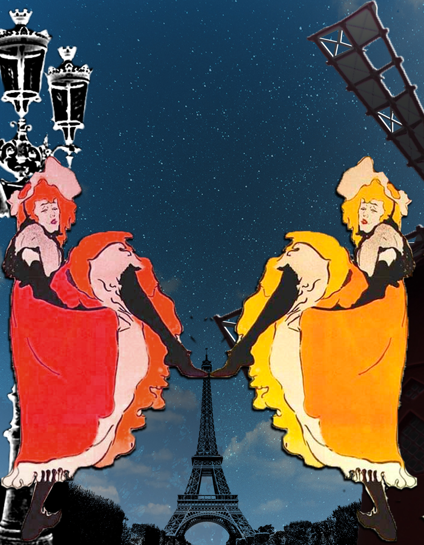 Bohemia París, Jane Avril bailando y Torre Eiffel al fondo. Loco Mundo Arte y Bohemia.