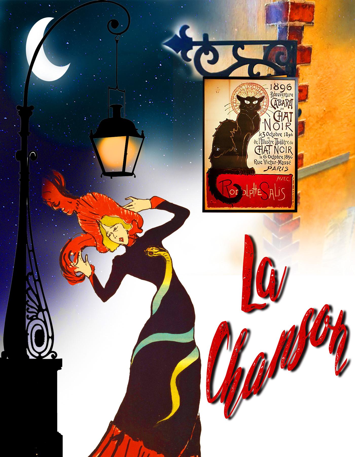 Jane Avril con farola y cabaret los cuatro gatos de Montmartre y la Chanson. París. Loco Mundo Arte y Bohemia.