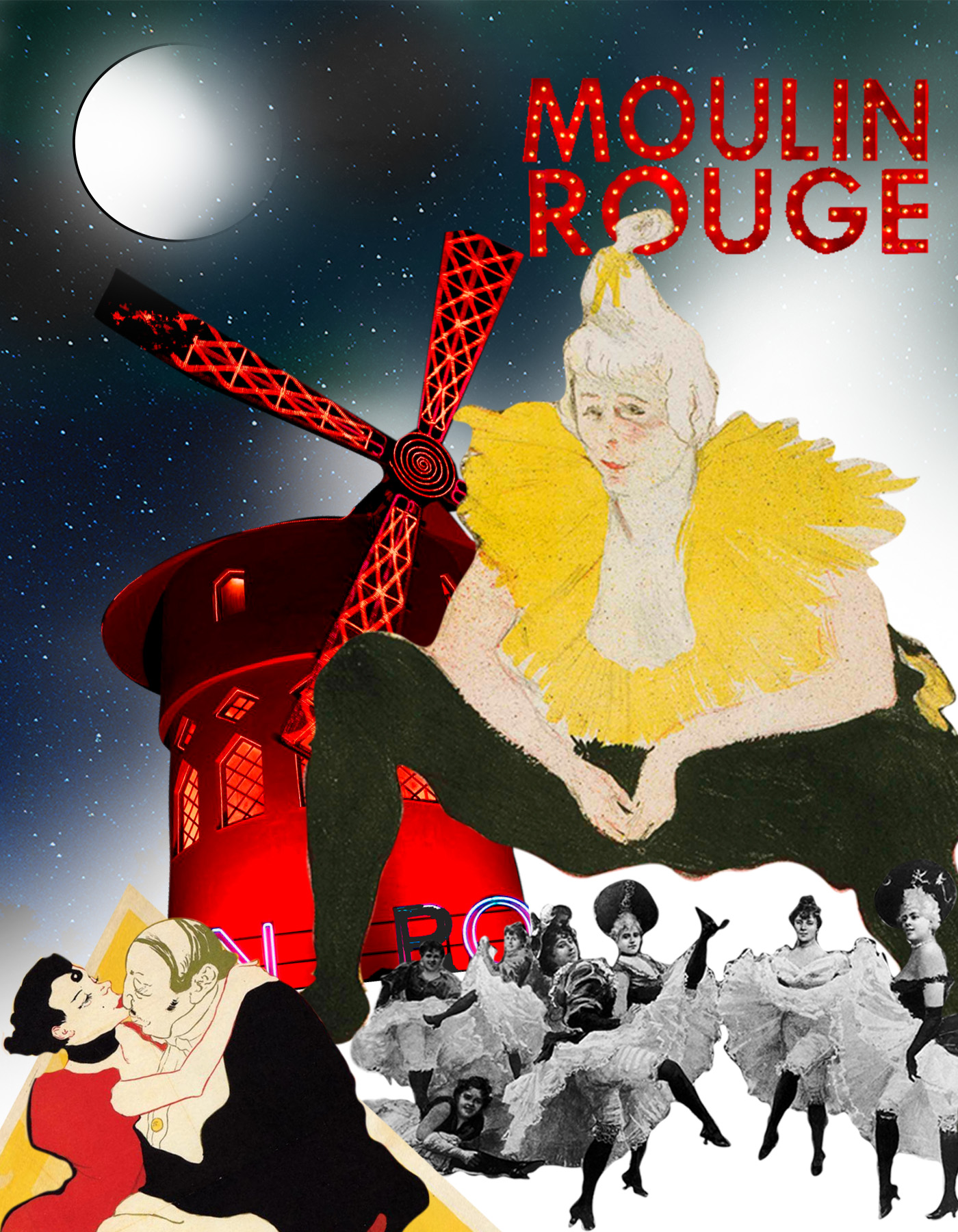 Cha-U-Kao gigante con Molin Rouge y bailarinas de cancan en blanco y negro. París, Montmartre. Loco Mundo Arte y Bohemia.