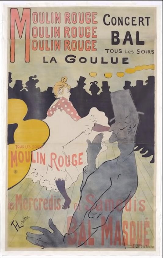 Cartel La Goulue en el Moulin Rouge. Toulouse Lautrec