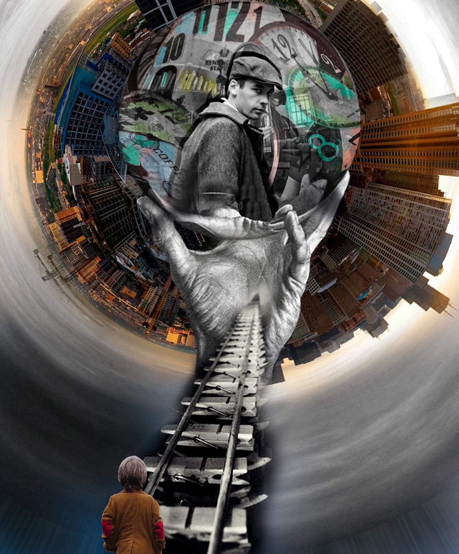 Imagen Surrealista de niño de espaldas sobre vía y mano con bola. Dentro un hombre nos mira. Debajo Imagen de una Ciudad. Loco Mundo Arte y Bohemia