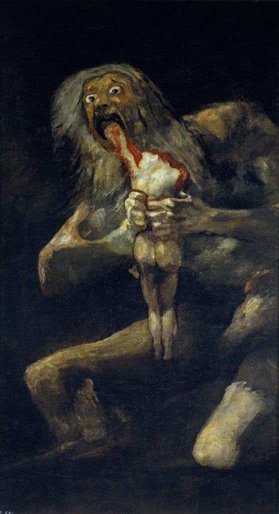 Saturno devorando a su hijo de Francisco de Goya. Pinturas Negras.1823