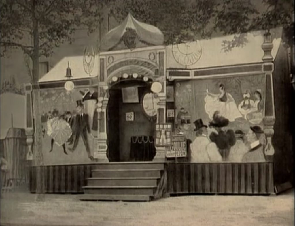 La barraca en la Feria del Trono de La Goulue. Bailarina de Montmartre y del Moulin Rouge. Musa de Toulouse Lautrec