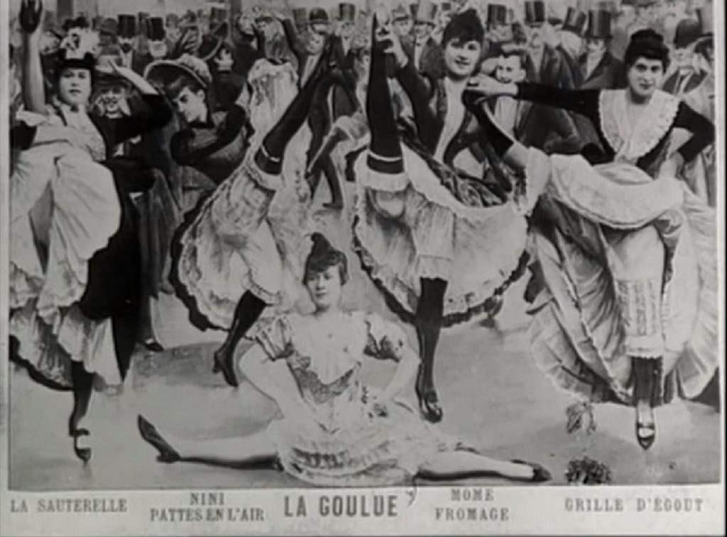 La Goulue rodeada de bailarinas. Moulin Rouge. París