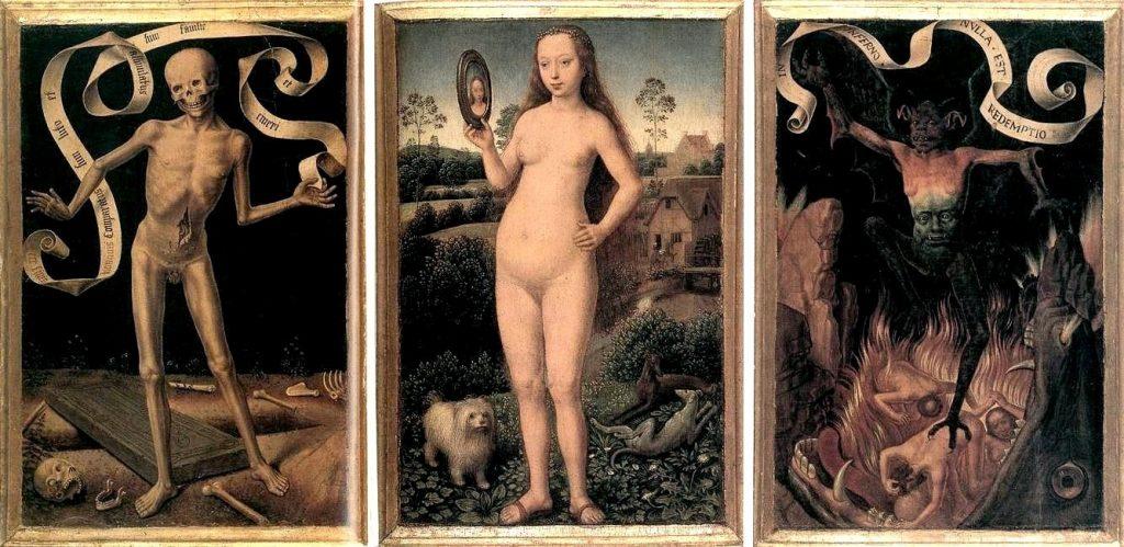 Tríptico de la Vanidad terrenal y la Salvación eterna por Hans Memling hacia 1485