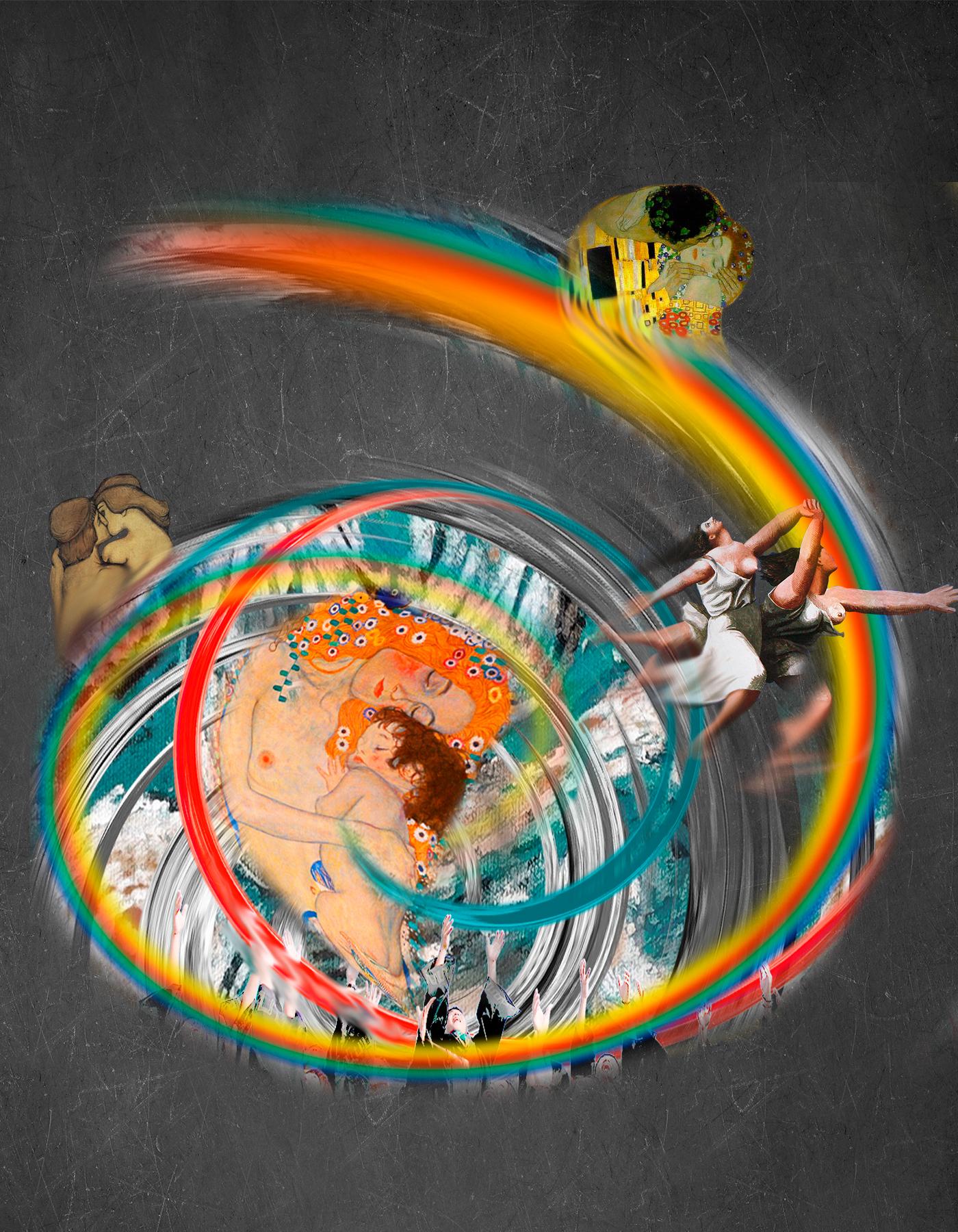 Torbellino Arco Iris con abrazos, besos, obras de arte como El Beso de Klimt, Maternidad de Klimt, Mujeres corriendo por la playa de Picasso. Loco Mundo Arte y Bohemia